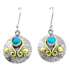2.10cts blue arizona mohave turquoise 925 silver two tone dangle earrings p21941