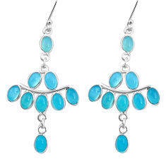 15.74cts natural aqua chalcedony 925 sterling silver dangle earrings p21951