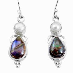 9.99cts natural multi color ammolite (canadian) pearl 925 silver earrings p22073