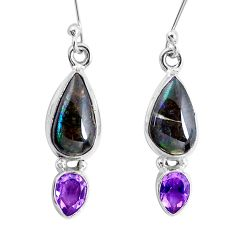 925 silver 9.99cts natural multi color ammolite amethyst earrings jewelry p22074