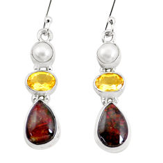 925 silver 11.46cts natural multi color ammolite citrine pearl earrings p22085