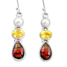 11.15cts natural multi color ammolite citrine pearl 925 silver earrings p22095