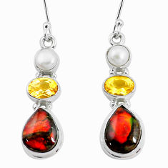 11.89cts natural multi color ammolite citrine pearl 925 silver earrings p22097