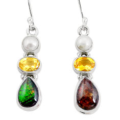 925 silver 11.44cts natural multi color ammolite citrine pearl earrings p22100