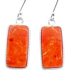 925 sterling silver 14.64cts red copper turquoise dangle earrings jewelry p22934