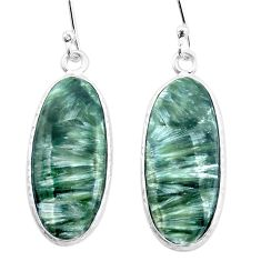 12.82cts natural green seraphinite (russian) 925 silver dangle earrings p22941