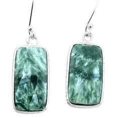 13.83cts natural green seraphinite (russian) 925 silver dangle earrings p22943