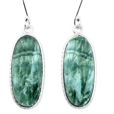 925 silver 15.75cts natural green seraphinite (russian) dangle earrings p22944