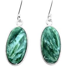 14.06cts natural green seraphinite (russian) 925 silver dangle earrings p22946