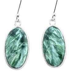 925 silver 13.25cts natural green seraphinite (russian) dangle earrings p22947