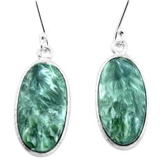 12.88cts natural green seraphinite (russian) 925 silver dangle earrings p22948