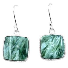 14.56cts natural green seraphinite (russian) 925 silver dangle earrings p22949