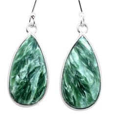 925 silver 12.21cts natural green seraphinite (russian) dangle earrings p22950