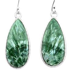17.46cts natural green seraphinite (russian) 925 silver dangle earrings p22951