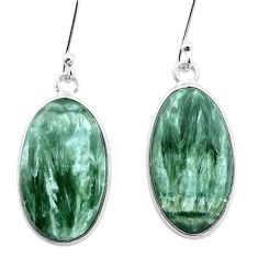 12.73cts natural green seraphinite (russian) 925 silver dangle earrings p22952