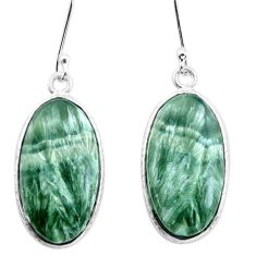 925 silver 15.16cts natural green seraphinite (russian) dangle earrings p22953