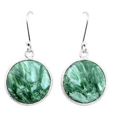 13.86cts natural green seraphinite (russian) 925 silver dangle earrings p22954