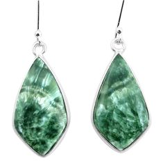 925 silver 14.56cts natural green seraphinite (russian) dangle earrings p22955