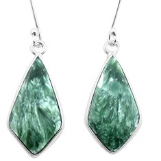 11.08cts natural green seraphinite (russian) 925 silver dangle earrings p22956