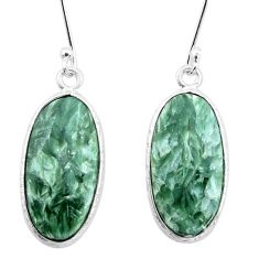 13.44cts natural green seraphinite (russian) 925 silver dangle earrings p22957