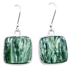 925 silver 14.41cts natural green seraphinite (russian) dangle earrings p22958