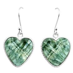 11.74cts natural green seraphinite (russian) 925 silver heart earrings p22959