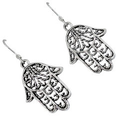 Indonesian bali style solid 925 sterling silver hand of god hamsa earrings p2296