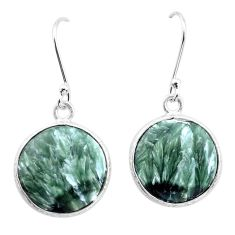 11.11cts natural green seraphinite (russian) 925 silver dangle earrings p22960