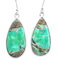 18.01cts natural green variscite 925 sterling silver dangle earrings p22989