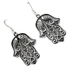 Indonesian bali style solid 925 sterling silver hand of god hamsa earrings p2308