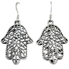 Indonesian bali style solid 925 silver hand of god hamsa earrings jewelry p2314