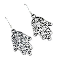 Indonesian bali style solid 925 silver hand of god hamsa earrings jewelry p2316