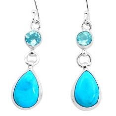 9.77cts natural blue kingman turquoise topaz 925 silver dangle earrings p23567