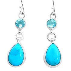 9.77cts natural blue kingman turquoise topaz 925 silver dangle earrings p23567
