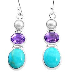 11.90cts natural blue kingman turquoise pearl 925 silver dangle earrings p23571