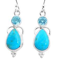 9.23cts natural blue kingman turquoise topaz 925 silver dangle earrings p23578