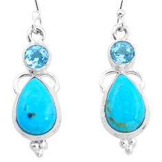 9.55cts natural blue kingman turquoise topaz 925 silver dangle earrings p23579
