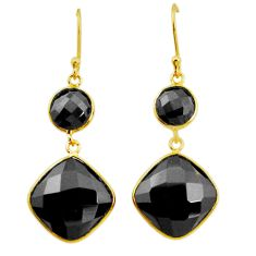 925 sterling silver 18.97cts natural black onyx 14k gold dangle earrings p23897