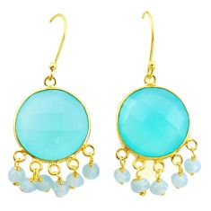 20.35cts natural aqua chalcedony 925 silver 14k gold chandelier earrings p23938