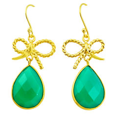 20.10cts natural green chalcedony 925 silver 14k gold dangle earrings p23945