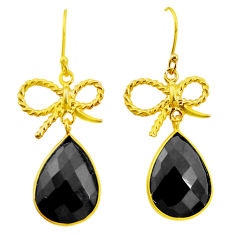 925 sterling silver 19.00cts natural black onyx 14k gold dangle earrings p23953