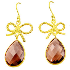 20.19cts brown smoky topaz 925 sterling silver 14k gold dangle earrings p23957