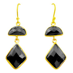 13.39cts natural black onyx 925 sterling silver 14k gold dangle earrings p23967