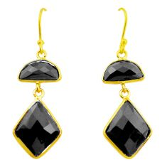 925 sterling silver 12.72cts natural black onyx 14k gold dangle earrings p23968