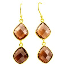 16.45cts brown smoky topaz 925 sterling silver 14k gold dangle earrings p23972