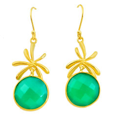 19.29cts natural green chalcedony 925 silver 14k gold dangle earrings p23983