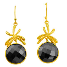 17.78cts natural black onyx 925 sterling silver 14k gold dangle earrings p23994