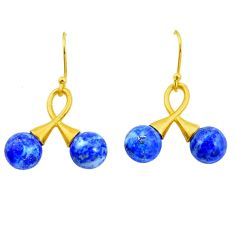 12.98cts natural blue lapis lazuli 925 silver 14k gold dangle earrings p24034