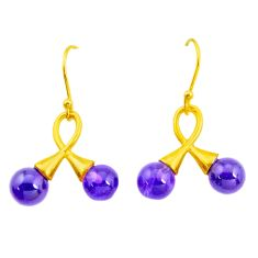 10.05cts natural purple amethyst 925 silver 14k gold dangle earrings p24039