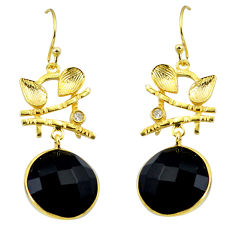 15.29cts natural black onyx topaz 925 silver 14k gold leaf earrings p24043